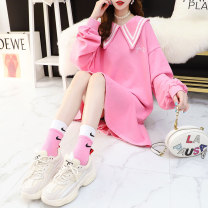 Dress Autumn 2020 Goose egg yolk girl pink off white goose egg yolk tmall quality Girl Pink tmall quality off white tmall quality Average size Mid length dress singleton  Long sleeves Sweet Doll Collar Loose waist Solid color Socket A-line skirt routine 18-24 years old Style wardrobe / style wardrobe