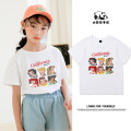 Parent child fashion White, black, pink, red, yellow A family of three neutral Other / other summer leisure time Thin money Cartoon animation Finished T-shirt cotton L,M,S,XL,XXL,XXXL Cotton 100% Class B 2, 3, 4, 5, 6, 7, 8, 9, 10, 11, 12, 13, 14 years old Chinese Mainland