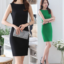 Dress Spring 2020 Black, red, white, green S,M,L,XL,2XL,3XL,4XL Mid length dress singleton  Sleeveless commute Crew neck middle-waisted Solid color zipper One pace skirt other Others Type H Ol style 51% (inclusive) - 70% (inclusive) brocade polyester fiber
