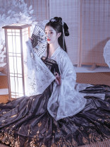 National costume / stage costume Spring of 2019 Black and white phoenix plume big sleeve shirt, black and white phoenix plume Top + Ru skirt [inner 3 + outer 3], black and white phoenix plume Top + Ru skirt [inner 6 + outer 6] S,M,L,XL Time in Han Dynasty 18-25 years old
