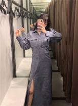 Dress Autumn 2020 Gray blue XS,S,M,L singleton  71% (inclusive) - 80% (inclusive) other