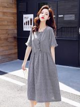 Dress Summer of 2019 Black, red M,L,XL,XXL Mid length dress singleton  Short sleeve commute Crew neck High waist lattice Socket Big swing routine Others 25-29 years old Type A Other Korean version Auricularia auricula, pocket, stitching, button MRF128880 More than 95% polyester fiber