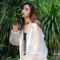 short coat Autumn of 2018 Average size white Long sleeves have cash less than that is registered in the accounts routine singleton  easy Original design bishop sleeve Hood zipper Solid color F-006 polyester fiber polyester fiber
