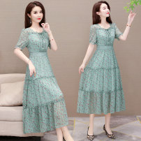 Dress Summer 2020 Green pink M L XL 2XL 3XL 4XL Mid length dress singleton  Short sleeve commute Crew neck High waist Decor Socket A-line skirt other Hanging neck style 35-39 years old Type A Osaya Korean version Lace up printing More than 95% other polyester fiber Other polyester 95% 5%