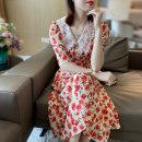 Dress Summer 2020 Decor S,M,L,XL Mid length dress singleton  elbow sleeve Sweet Doll Collar High waist Broken flowers Socket puff sleeve Type X silk princess