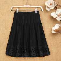 skirt Summer 2021 1, 2, 3, 4, 5 Short skirt Versatile Natural waist Pleated skirt Solid color Type A 81% (inclusive) - 90% (inclusive) Lace polyester fiber