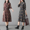 Dress Autumn 2020 Red, blue M [within 110 kg recommended], l [110-125 kg recommended], XL [125-140 kg recommended], 2XL [140-155 kg recommended], 3XL [155-170 kg recommended], 4XL [170-185 kg recommended] longuette singleton  Long sleeves commute Polo collar Decor Socket Type A literature cotton