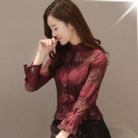 Lace / Chiffon Spring 2021 White, black, pink, fuchsia S,M,L,XL,2XL,3XL Long sleeves commute Cardigan Two piece set Self cultivation have cash less than that is registered in the accounts stand collar Solid color shirt sleeve 25-29 years old Other / other M111 bow Korean version
