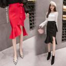 skirt Spring 2021 S,M,L,XL,2XL Dark blue, red, black Mid length dress Natural waist Irregular Solid color Q390