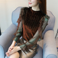 Lace / Chiffon Spring 2021 Blue, black, brown S,M,L,XL,XXL Long sleeves Sweet Socket singleton  Self cultivation Regular stand collar Solid color puff sleeve 25-29 years old Other / other X532 91% (inclusive) - 95% (inclusive) Ruili