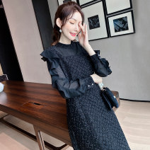 Women's large Spring 2021 Pre sale in black (delivery within 15 days after payment) M (90-110 kg) l (110-130 kg) XL (130-145 kg) 2XL (145-155 kg) 3XL (155-170 kg) 4XL (170-185 kg) 5XL (185-200 kg) Dress singleton  street easy moderate Socket Long sleeves Solid color polyester routine 1211800279-3