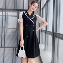 Women's large Summer 2021 Black apricot in stock L (110-125) Jin XL (125-140) Jin 2XL (140-155) Jin 3XL (155-170) Jin 4XL (170-185) Jin 5XL (185-210) Jin Dress singleton  street easy moderate Socket Short sleeve Solid color routine nylon Three dimensional cutting routine 9912821023-1 25-29 years old