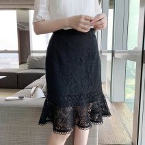 Women's large Spring 2021 M L XL 2XL 3XL 4XL 5XL skirt singleton  commute moderate Solid color lady Cotton nylon Three dimensional cutting Extravagant posture 25-29 years old Lace stitching 31% (inclusive) - 50% (inclusive) Middle-skirt Pure e-commerce (online only) Ruffle Skirt Lotus leaf edge