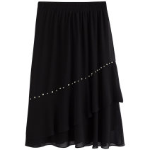 Women's large Summer 2021 Black spot black pre-sale (delivery within 15 days after payment) XL (185-250kg) 250kg (250kg) skirt singleton  street easy moderate Solid color polyester Three dimensional cutting 5112405658-2 Extravagant posture 25-29 years old 96% and above Medium length Polyester 100%