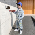 suit Baby & HH / baby Hengheng Blue grey 100cm 110cm 120cm 130cm 140cm 150cm 160cm male spring and autumn Korean version Long sleeve + pants 2 pieces routine There are models in the real shooting Zipper shirt nothing letter other children Expression of love Class B Other 100% Spring 2021