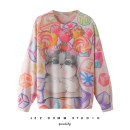 Wool knitwear Autumn of 2019 Average size Picture color Long sleeves singleton  Socket other 31% (inclusive) - 50% (inclusive) Medium length routine street easy Low crew neck Bat sleeve Animal design Socket Printing, jacquard Europe and America