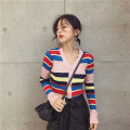 Wool knitwear Fall 2017 Long sleeves singleton  Cardigan other 31% (inclusive) - 50% (inclusive) Regular routine commute Self cultivation V-neck routine stripe Single breasted Korean version JZZDEMM