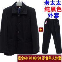Middle aged and old women's wear Spring of 2019 simple Jacket / jacket Straight cylinder singleton  Solid color Over 60 years old Cardigan square neck routine routine Embroidery 81% (inclusive) - 90% (inclusive) Single breasted trousers