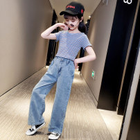 suit Other / other Blue + button pants, black + elastic pants, striped top + elastic pants 110cm,120cm,130cm,140cm,150cm,160cm,170cm female summer Korean version Short sleeve + pants 2 pieces Thin money There are models in the real shooting Socket nothing Solid color cotton children Learning reward