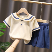 suit Other / other Blue, green 90cm,100cm,110cm,120cm,130cm female summer leisure time Short sleeve + pants 2 pieces routine No model Socket nothing Solid color cotton children Expression of love Other 100%