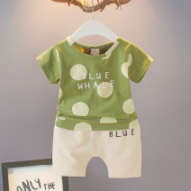 suit Other / other male summer leisure time Short sleeve + pants 2 pieces Thin money No model Socket nothing Dot cotton children Expression of love wd-dx9023 Cotton 95% polyurethane elastic fiber (spandex) 5% 3 months, 6 months, 12 months, 9 months, 18 months, 2 years old, 3 years old