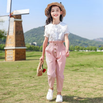 suit Other / other Blue, pink 120cm,130cm,140cm,150cm,160cm,170cm female summer leisure time Short sleeve + pants 2 pieces routine There are models in the real shooting Socket nothing Solid color children Expression of love YMW-20101 Other 100% Five, six, seven, eight, nine, ten, eleven, twelve
