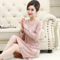 Nightdress Romantic and charming Simplicity Long sleeves pajamas Middle-skirt autumn Plants and flowers middle age Crew neck cotton printing More than 95% Knitted cotton fabric