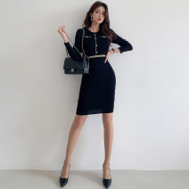 Dress Autumn 2020 White, black Average size longuette singleton  Long sleeves commute Crew neck High waist Solid color Socket One pace skirt routine 25-29 years old Type H Ol style Splicing knitting cotton