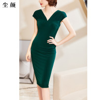 Dress Summer of 2019 Black spot green spot S M L XL 2XL Mid length dress Short sleeve commute Crew neck other 30-34 years old Dust face Ol style CMQLF595 More than 95% polyester fiber Polyester 95.9% polyurethane elastic fiber (spandex) 4.1% Pure e-commerce (online only)