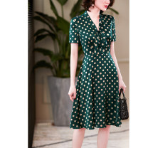 Dress Summer 2020 S M L XL 2XL 3XL Mid length dress singleton  Short sleeve commute V-neck middle-waisted Dot routine 30-34 years old Dust face Ol style More than 95% polyester fiber Polyester 100% Pure e-commerce (online only)