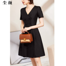 Dress Summer of 2019 goods in stock S M L XL Mid length dress singleton  commute 30-34 years old Dust face Ol style CKELE290 91% (inclusive) - 95% (inclusive) polyester fiber Polyester 92% polyurethane elastic fiber (spandex) 8% Pure e-commerce (online only)