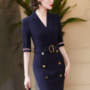Dress Autumn 2020 Spot pre-sale May 5 delivery S M L XL 2XL Mid length dress elbow sleeve commute V-neck middle-waisted Solid color routine 30-34 years old Dust face Ol style CNELG463 81% (inclusive) - 90% (inclusive) polyester fiber Polyester fiber 90% polyurethane elastic fiber (spandex) 10%