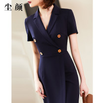 Dress Summer of 2019 Spot pre-sale delivery on July 22 S M L XL 2XL Mid length dress Short sleeve commute V-neck 30-34 years old Dust face Ol style CMWLF804 More than 95% polyester fiber Polyester 95% polyurethane elastic fiber (spandex) 5% Pure e-commerce (online only)