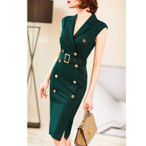 Dress Summer of 2019 S M L XL 2XL Mid length dress commute 30-34 years old Dust face Ol style More than 95% polyester fiber Polyester 95% polyurethane elastic fiber (spandex) 5% Pure e-commerce (online only)