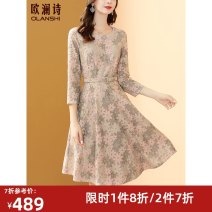 Dress Autumn 2020 Decor M L XL 2XL Mid length dress singleton  three quarter sleeve commute Crew neck High waist Decor Socket A-line skirt routine Others 40-49 years old Type A Olanshi / Ou Lan Shi lady Tie flowers OL038 31% (inclusive) - 50% (inclusive) other nylon Pure e-commerce (online only)