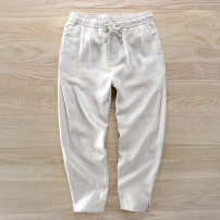 Casual pants Others Fashion City 30,32,34,36,38,40 thin Ninth pants Other leisure Straight cylinder Micro bomb Baisha summer youth Business Casual 2018 middle-waisted Little feet Flax 100% pocket washing hemp hemp More than 95%
