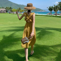 Dress Autumn of 2019 yellow S,M,L,XL Mid length dress singleton  Sleeveless commute One word collar High waist Solid color Socket Big swing other camisole 25-29 years old Type A Other / other Simplicity Open back, Ruffle