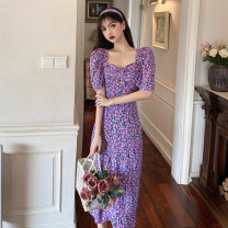Dress Summer 2020 violet S,M,L,XL longuette singleton  Short sleeve commute square neck High waist Decor Socket A-line skirt puff sleeve Others 18-24 years old Type A Retro printing