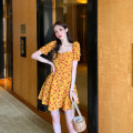 Dress Summer of 2019 Yellow short, yellow long S,M,L,XL Mid length dress singleton  Short sleeve commute square neck High waist Decor Socket A-line skirt puff sleeve Others 25-29 years old Type A Other / other Korean version Lace up, printed 81% (inclusive) - 90% (inclusive) Chiffon polyester fiber