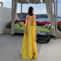 Dress Summer of 2019 yellow S,M,L,XL longuette singleton  Sleeveless commute Crew neck Loose waist Solid color Socket Big swing other camisole 18-24 years old Type A Other / other Korean version backless More than 95% Chiffon