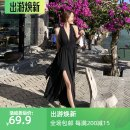 Dress Spring 2021 black S,M,L,XL longuette singleton  commute V-neck Elastic waist Solid color Big swing Hanging neck style 18-24 years old Type A Korean version Open back, lace up, zipper