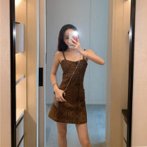 Dress Summer 2020 Graph color S,M,L Short skirt singleton  Sleeveless commute One word collar High waist Decor Socket A-line skirt camisole 18-24 years old Type A Korean version backless