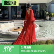 Dress Spring 2021 Red, white S,M,L,XL longuette singleton  Long sleeves commute V-neck High waist Solid color Socket Big swing routine 25-29 years old Type A Korean version Splicing Chiffon polyester fiber