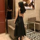 Dress Summer of 2019 Black, red S,M,L Mid length dress singleton  Sleeveless commute V-neck High waist Solid color Socket A-line skirt other camisole 18-24 years old Type A Other / other Retro Open back, zipper