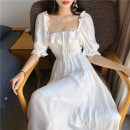 Dress Summer of 2019 White, bean green Average size longuette singleton  Short sleeve commute square neck High waist Solid color Socket Big swing puff sleeve Others 25-29 years old Type A Other / other Korean version Ruffles, open back, stitching 81% (inclusive) - 90% (inclusive) Chiffon