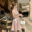 Dress Autumn 2020 Pink S,M,L Short skirt singleton  Sleeveless commute V-neck Elastic waist Solid color Socket Big swing other Hanging neck style Type A Simplicity Open back, lace up
