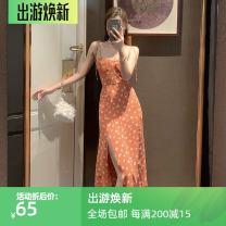 Dress Spring 2021 orange S,M,L longuette singleton  Sleeveless commute V-neck High waist Decor Socket A-line skirt other camisole 18-24 years old Type A Korean version Open back, lace up, print