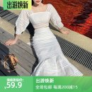 Dress Summer 2020 S,M,L,XL Mid length dress Two piece set elbow sleeve commute square neck High waist Solid color Socket other puff sleeve Others 18-24 years old Type A Korean version Bows, ruffles, bandages