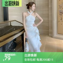 Dress Spring 2021 white S,M,L longuette singleton  Sleeveless commute High waist Solid color Socket Ruffle Skirt other Hanging neck style 18-24 years old Type H Korean version Open back, lace up, asymmetric, zipper