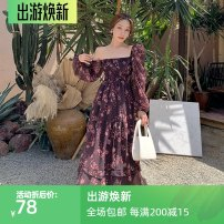 Dress Autumn 2020 Picture color S,M,L,XL Middle-skirt singleton  Long sleeves commute square neck High waist Decor Socket Big swing puff sleeve Others Type A Korean version printing Chiffon